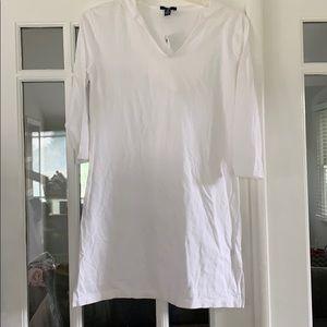 White 3/4 sleeve hooded beach coverup